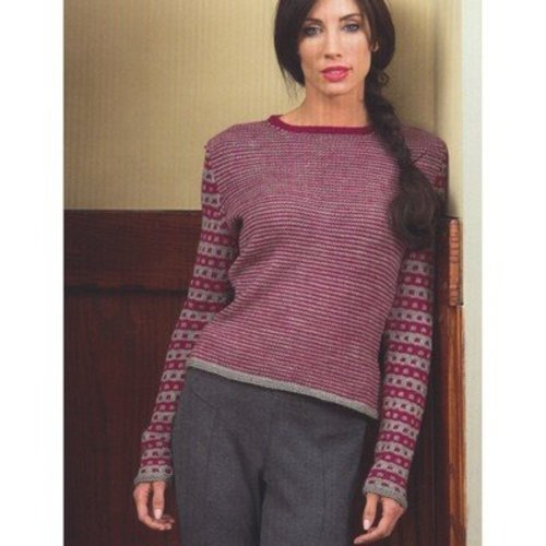 Plymouth Yarn 2711 Ladies Single Row Stripe Pullover -  ()