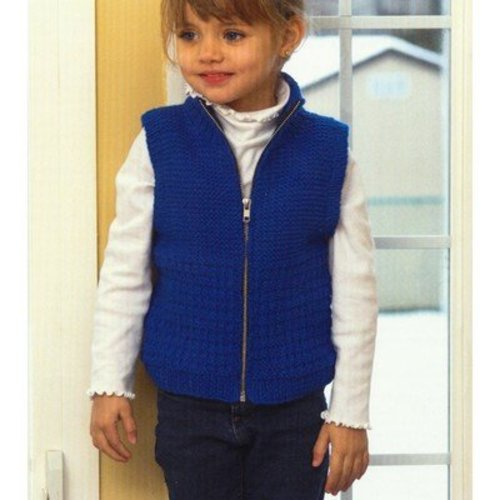 Plymouth Yarn 2718 Kid's Zippered Guernsey Vest -  ()