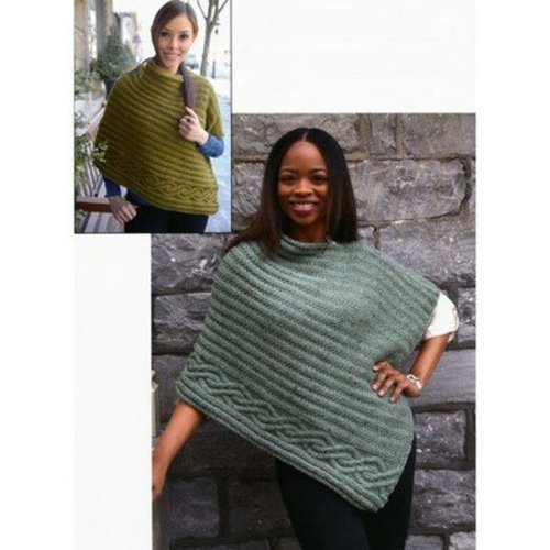 Plymouth Yarn 2838 Cabled Edge Poncho -  ()