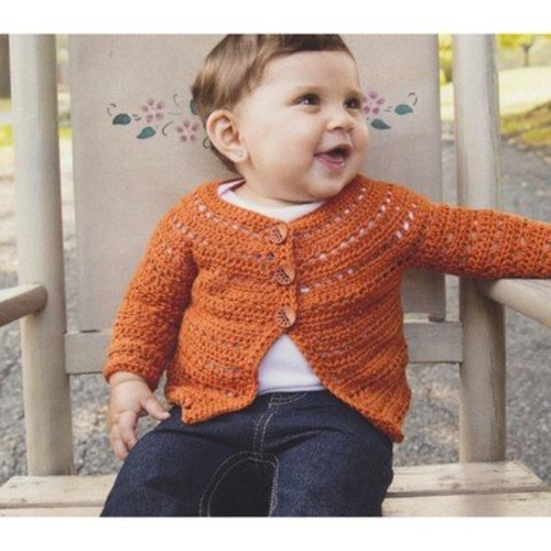 Plymouth Yarn 2859 Crochet Top Down Baby Cardigan -  ()
