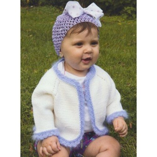 Plymouth Yarn 2918 Baby's Angora Trimmed Cardigan -  ()