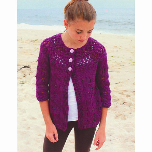 Plymouth Yarn 3080 Girl's Lace Yoke Cardigan -  ()