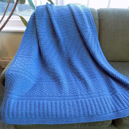 Plymouth Yarn 3139 Homestead Gansey Throw Kit - Colonial Blue (1)