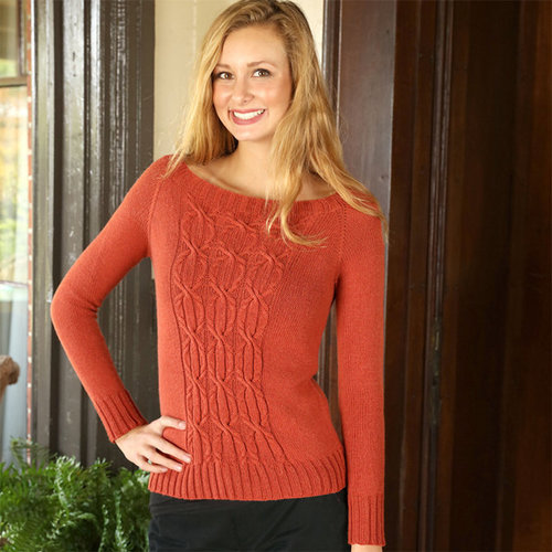 Plymouth Yarn 3231 Cammello Merino Women's Top Down Cabled Pullover -  ()