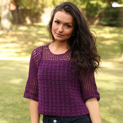 Plymouth Yarn 3357 Shell and Openwork Crochet Pullover PDF -  ()