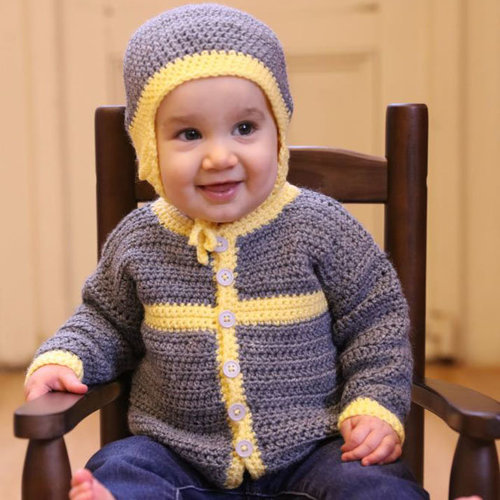 Plymouth Yarn 3381 Crocheted Cottage Baby Cardigan and Hat PDF -  ()