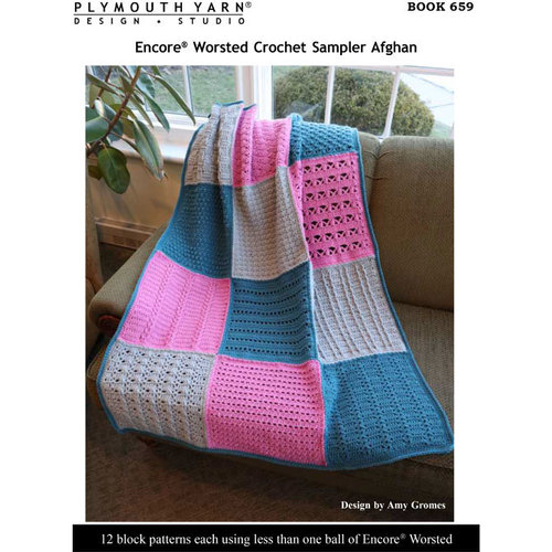 Plymouth Yarn 659 Encore Worsted Crochet Sampler Afghan PDF - Download (659)
