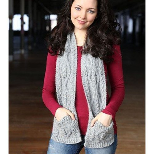 Plymouth Yarn F710 Cabled Pocket Scarf (Free) -  ()