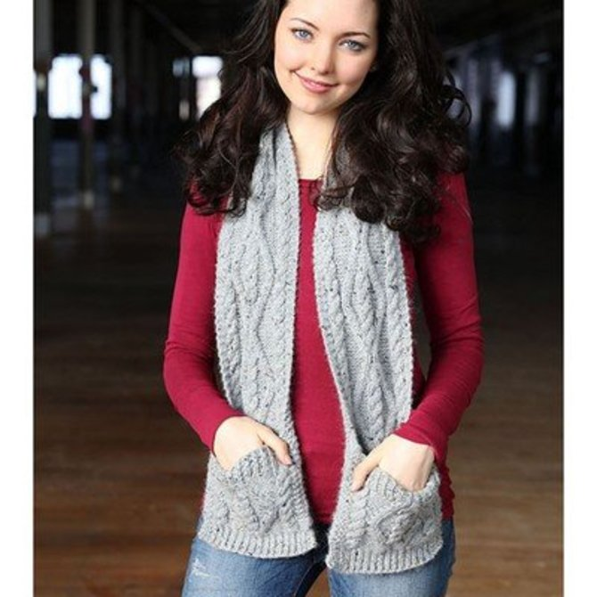 Plymouth Yarn F710 Cabled Pocket Scarf Free At Webs Yarn
