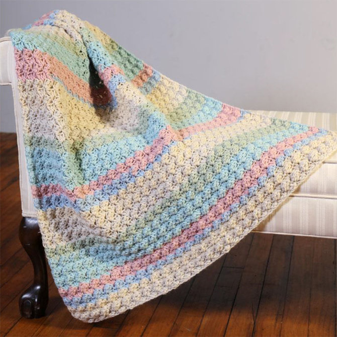 Plymouth Yarn F845 Hot Cakes Blanket Stitch Crochet Baby Blanket