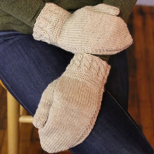Plymouth Yarn M114 Galway Worsted Oatberry Mittens -  ()