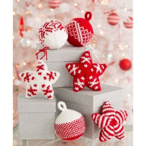 Red Heart Holiday Stars and Balls Ornaments (Free) -  ()