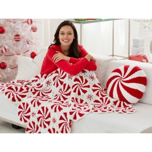 Red Heart Peppermint Throw and Pillow (Free) -  ()