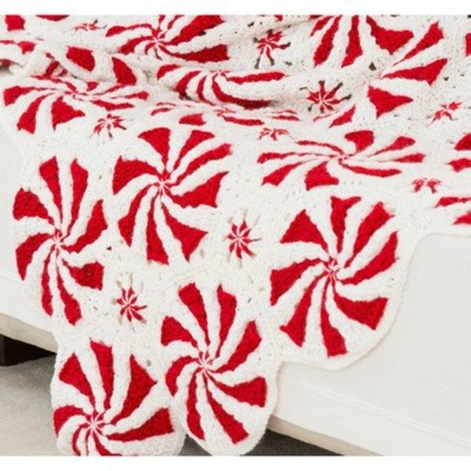Red Heart Peppermint Throw And Pillow Free At Webs Yarn Com