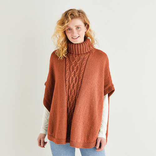 Sirdar 10163 Roll Neck Poncho in Country Classic Worsted PDF -  ()