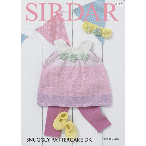 Sirdar 4922 Pinafore Dress, Shoes and Headband PDF -  ()