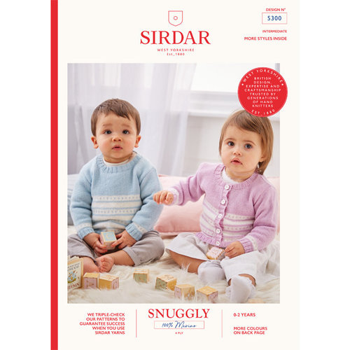 Sirdar 5300 Round Neck Cardigan and Pullover in Snuggly 100% Merino PDF -  ()