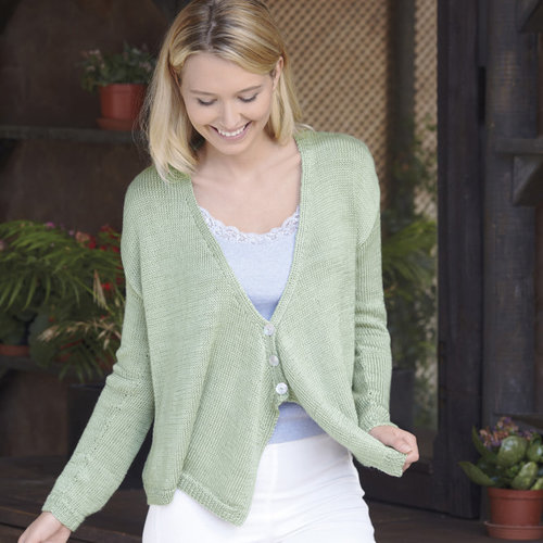 "Sirdar 8135 Cardigan with Draped Fronts Kit (Long Sleeves) - 32-34"" (01)"