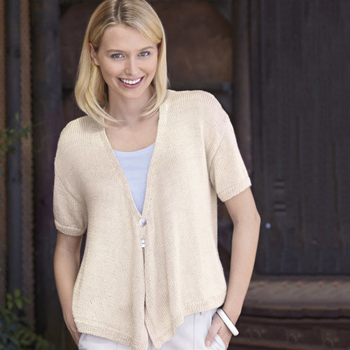 "Sirdar 8135 Cardigan with Draped Fronts Kit (Short Sleeves) - 32-34"" (01)"