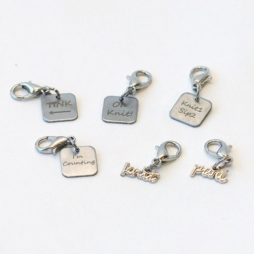 Skacel Stitch Marker Charm Bracelet Booster Pack - #1 - Knitting Phrases (1)