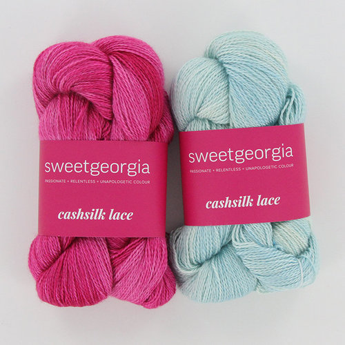 SweetGeorgia Angi Shawl Knit Kit - Lip Gloss/West Wind (LIPWES)