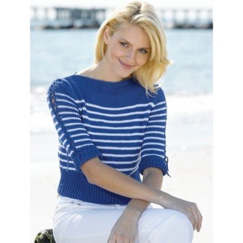 Tahki Yarns Nautical Stripes Boatneck Pullover (Free) -  ()