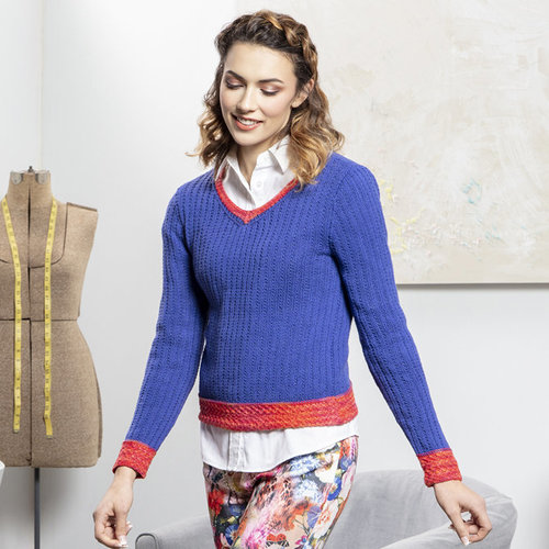 Universal Yarn 05 V-Neck Pullover in Bamboo Pop PDF -  ()