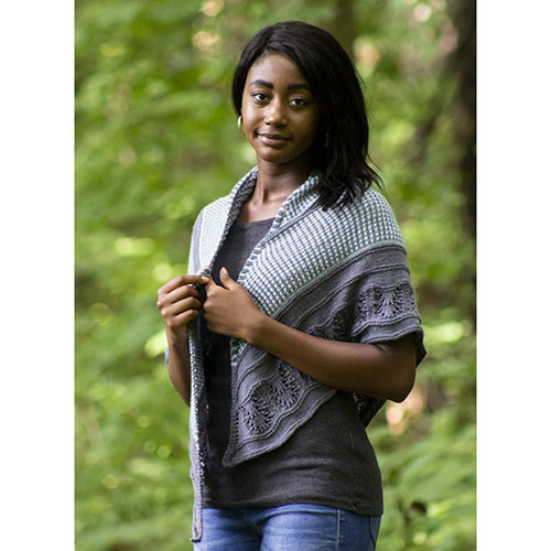 Universal Yarn Blue Oak Shawl Kit - Model (1)