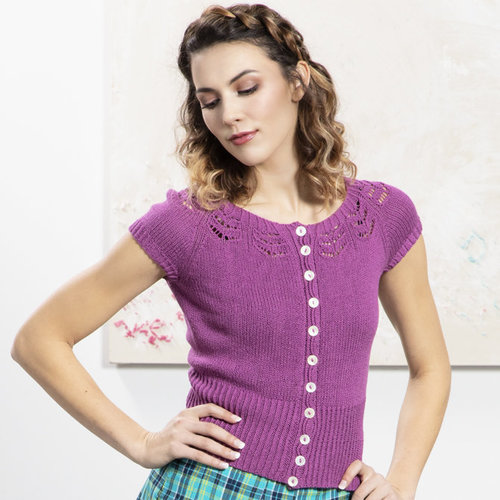 Universal Yarn 03 Cropped Yoke Cardigan PDF -  ()