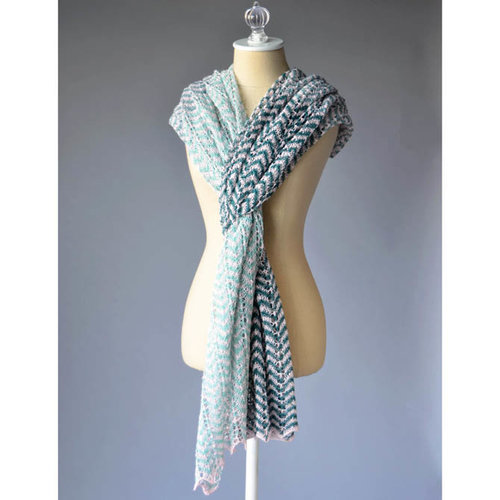 Universal Yarn Wavedancer Shawl Kit - White/Jade/Mineral/Blue Spruce (01)