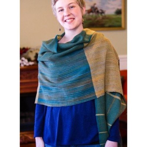 Valley Yarns #104 Aspen & Evergreen Shawl Kit - Model (01)