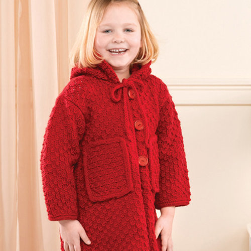 Valley Yarns 206 Red Hooded Child's Jacket (Free) -  ()