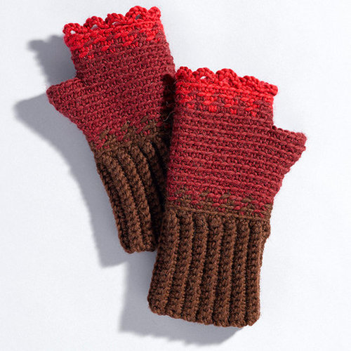 Valley Yarns 207 Rose Hips Crocheted Gauntlets -  ()