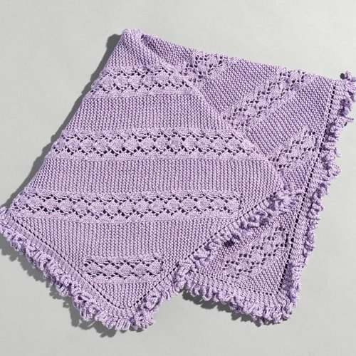 Valley Yarns 213 Eyelet And Garter Baby Blanket - Download (213)