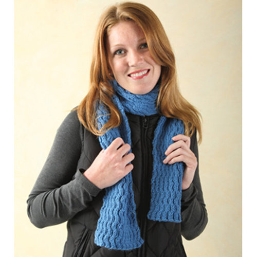 Valley Yarns 240 Reversible Wave Cabled Scarf (Free) -  ()
