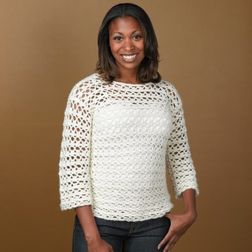 Valley Yarns 342 Arch and Picot Crocheted Pullover -  ()