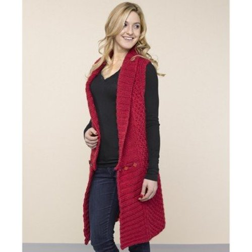 Valley Yarns 40th Anniversary 17 Long Collared Vest - Download (17PDF)