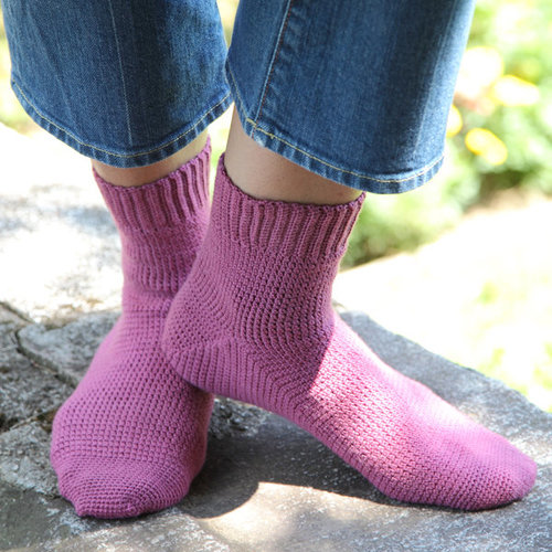 Valley Yarns 425 Cosmos Toe-Up Crocheted Socks - Download (425)