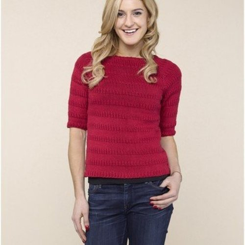 "Valley Yarns 642 Park Pullover Kit - 36"" - Red (01)"