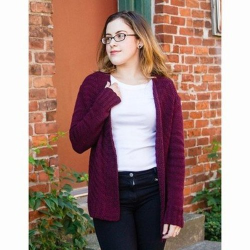 "Valley Yarns 735 Valentina Cardigan Kit - 32.75-37.5"" (01)"