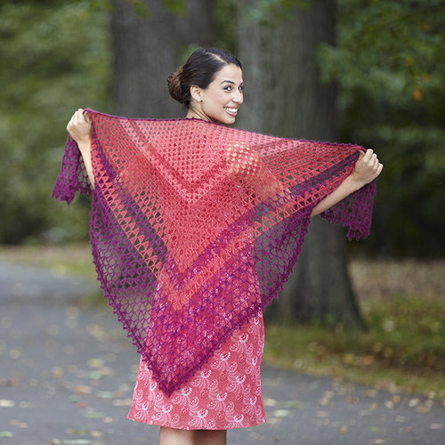 Valley Yarns 750 Sidonie Shawl Kit - Merlot-Persimmon-Cranberry (17)