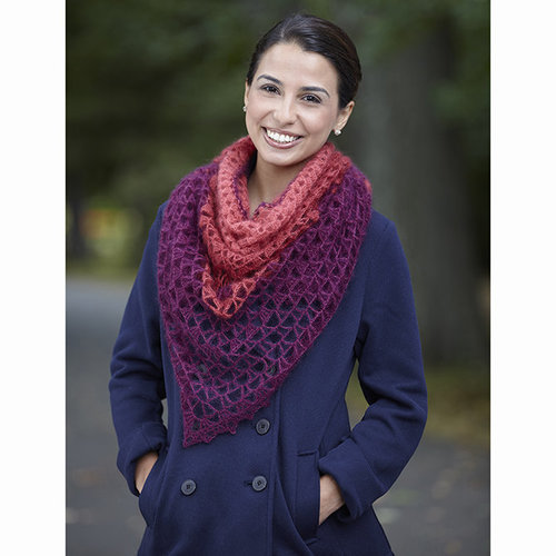 Valley Yarns 750 Sidonie Shawl Kit - Merlot/Persimmon/Cranberry (17)
