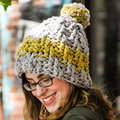Valley Yarns 756 Upward Spiral Beanie Kit - Moontower Mustard - Model (01)