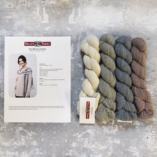 Valley Yarns 771 Branca Shawl Kit - Winter Sky/Light Grey/Natural/Lilac Snow (LILA)