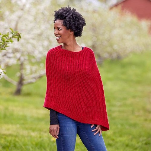 Valley Yarns 792 Maeve Poncho Kit - Red (01)