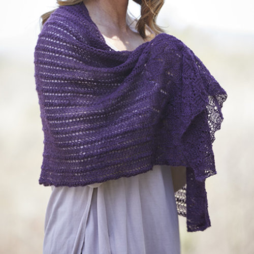 Valley Yarns 847 Sugar Cone Shawl Kit - Eggplant (01)