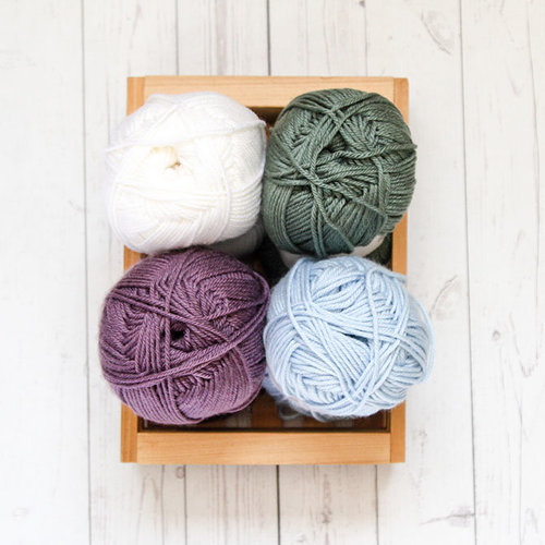 Valley Yarns Adventure Du Jour Pioneer Valley Blanket Kit in Haydenville - Soft Grape, Seafoam, Sage, White (2)