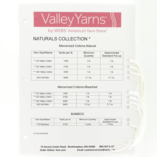 Valley Yarns Color Cards - Natural for Weaving (NATURALS)