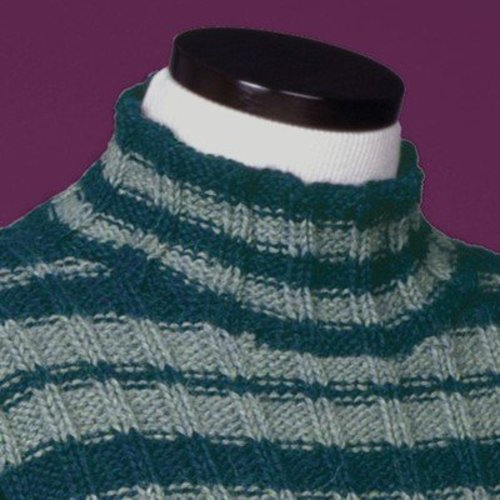Vermont Fiber Designs 114 Striped Reverse Rib Mock Turtleneck PDF -  ()