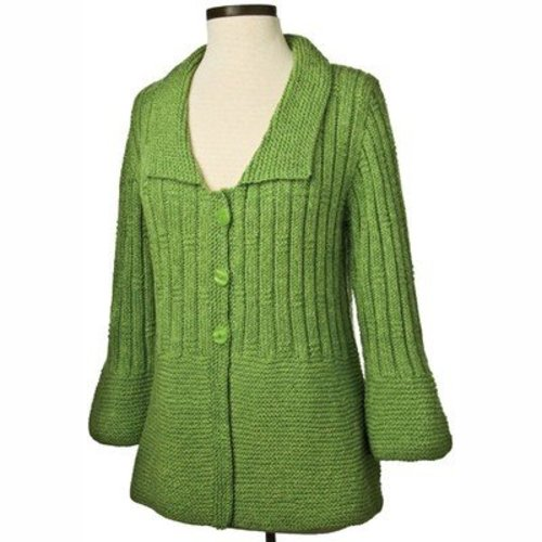 Vermont Fiber Designs 183 Garter and Rib Cardigan PDF -  ()